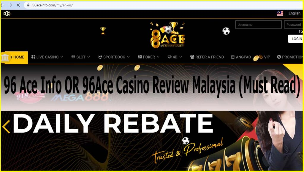 96 Ace Info OR 96Ace Casino Review Malaysia
